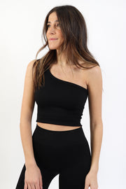Black One Shoulder Ribbed Crop Top