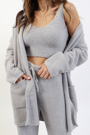 Dove Grey Cozy Eyelash Cardigan