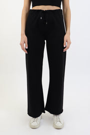 Black French Terry Wide Leg Pant