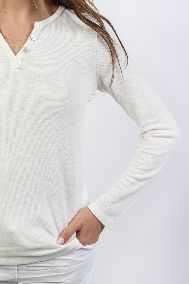 Cotton Slub Henley Top