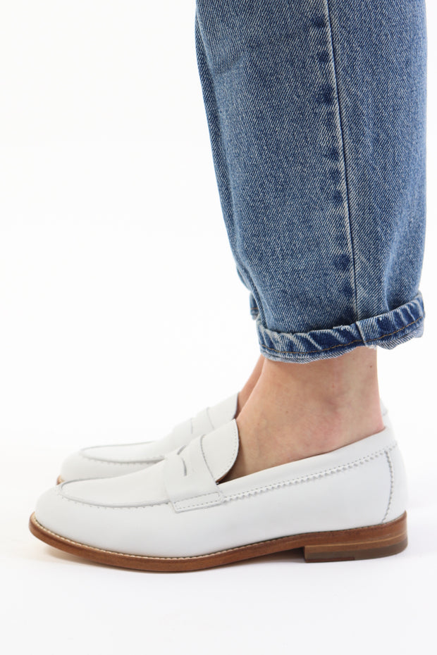 Mia White Nubuck Loafer