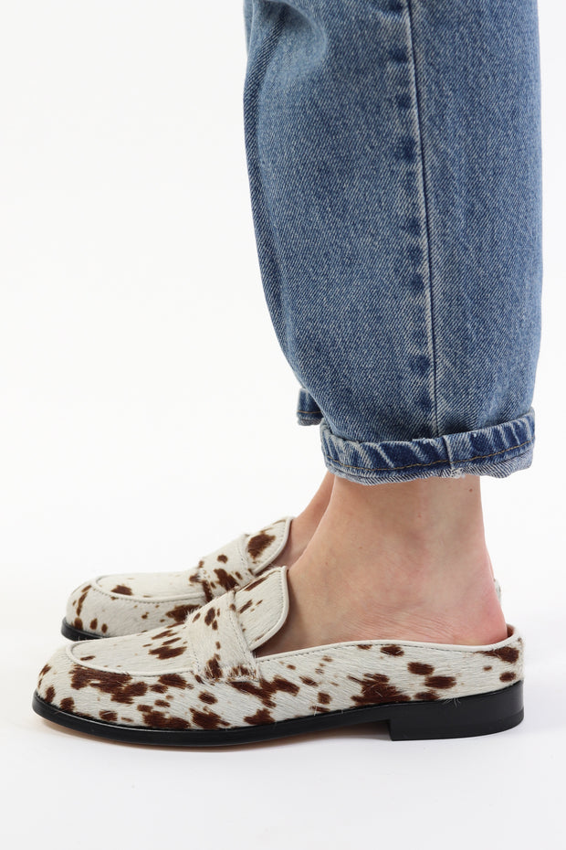 Mandy Cow Print Backless Loafer