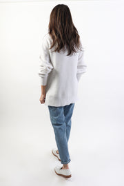 White Ottoman Ribbed Sweater