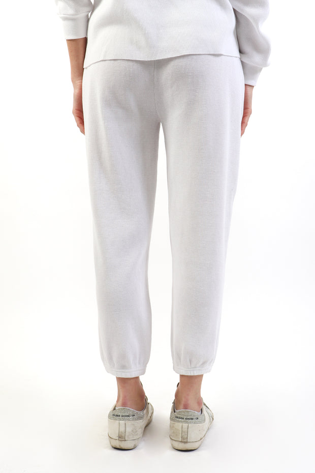 White Relaxed Waffle Joggers