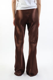 Chocolate Brown Riri Silk Wide-Leg Pants