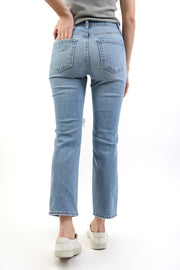 Destroyed Straight Leg Light Denim