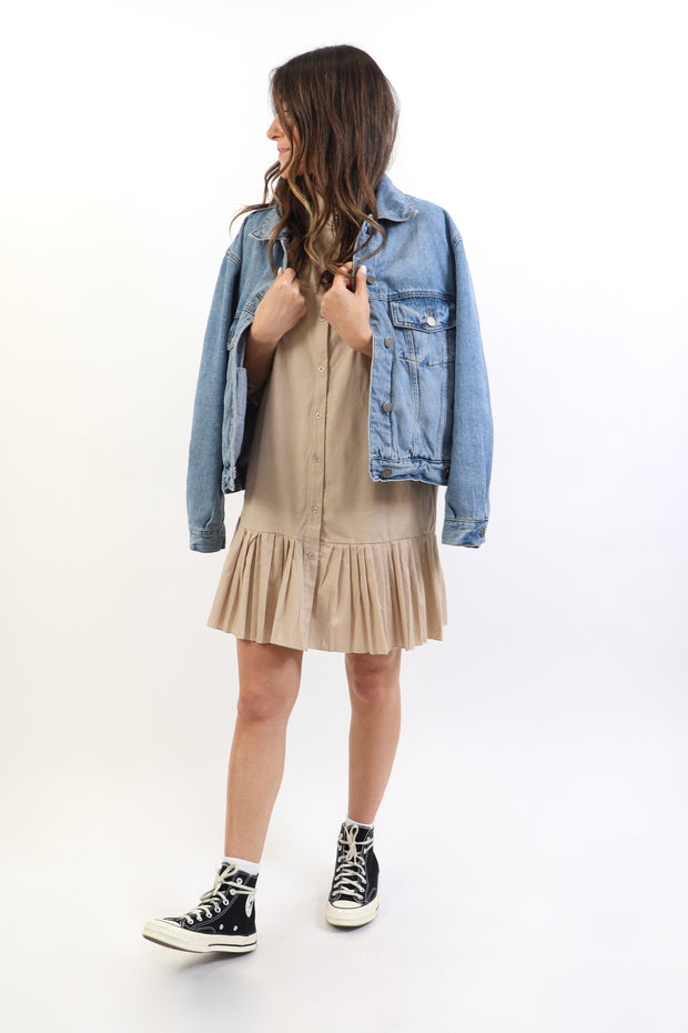 Long Sleeve Pleated Hem Dress