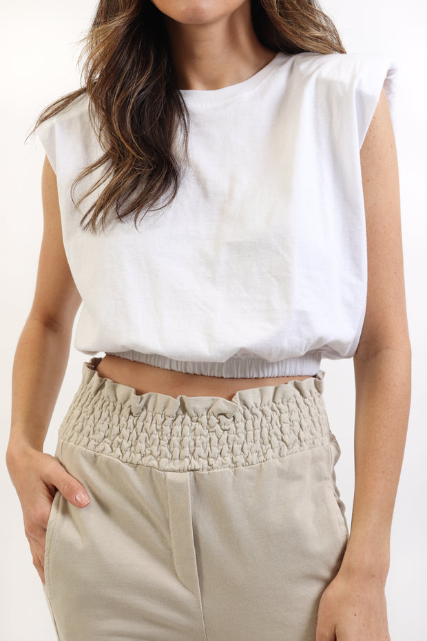 Cropped Padded Shoulder Tank