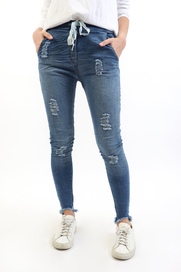 Distressed Denim Crinkle Pants