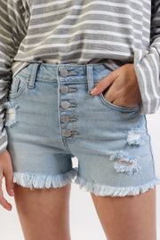 Button Down Stretch Denim Shorts