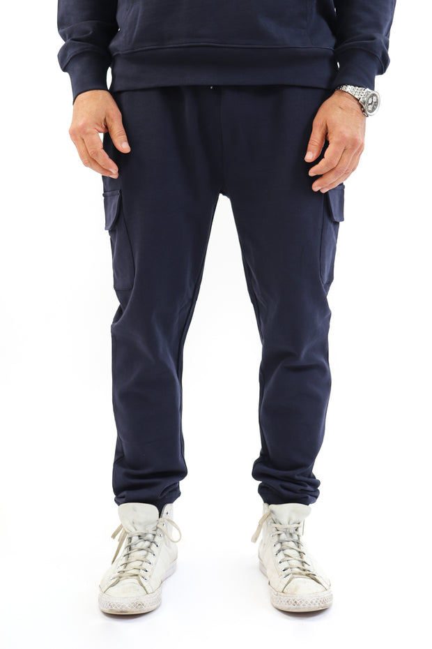 Men's Navy French Terry Cargo Joggers