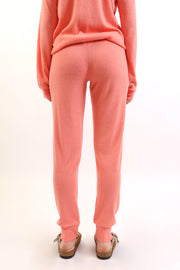Soft Coral Ribbed Knit Henley Jogger
