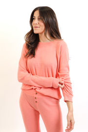 Soft Coral Ribbed Knit Long Sleeve