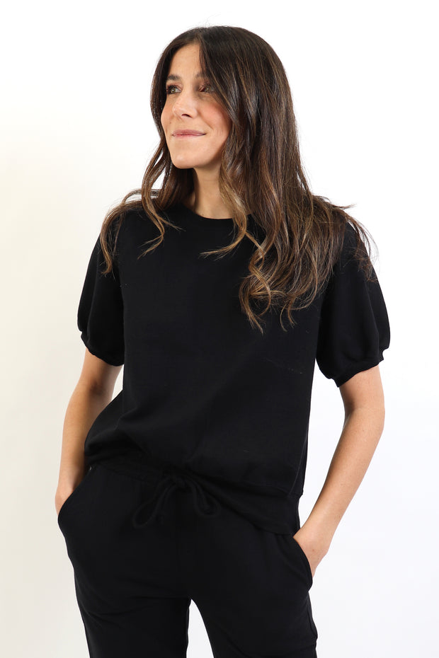 Black French Terry Short Sleeve Top