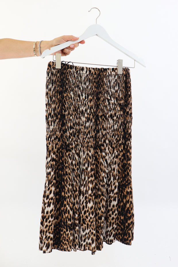 Leopard Smocked Midi Skirt