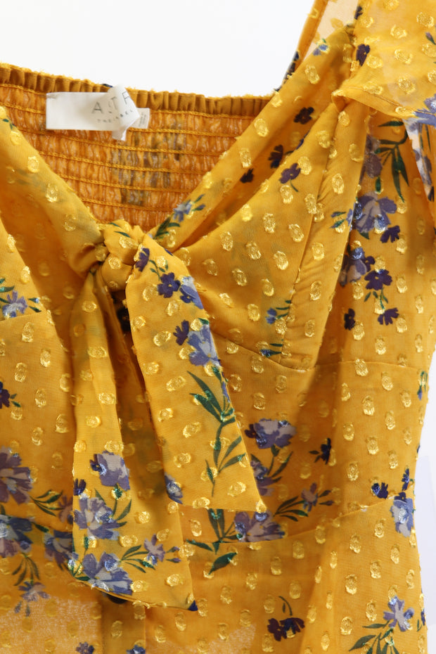 Yellow Floral Knot Front Blouse