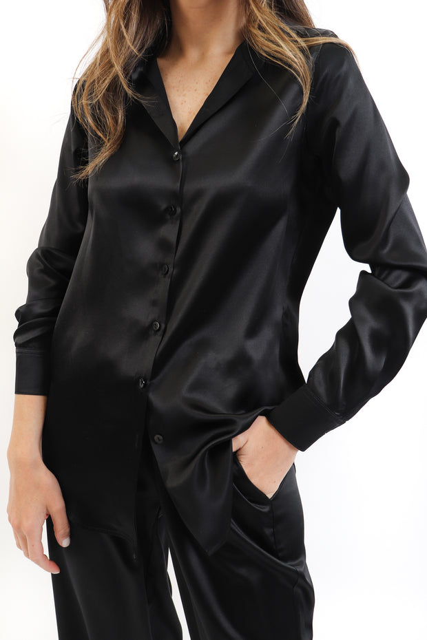 Black Riri Silk Button Down Shirt