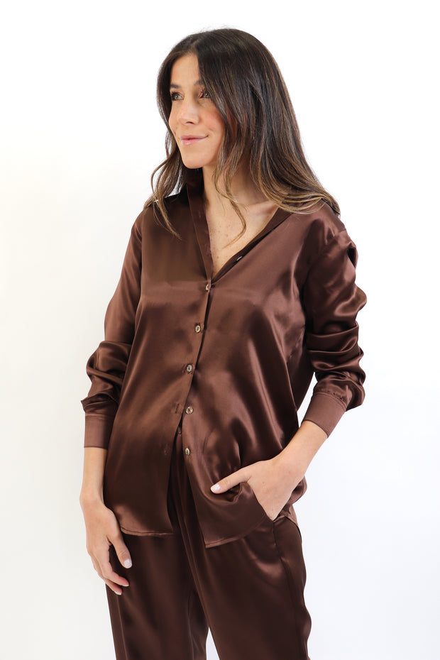 Chocolate Brown Riri Silk Button Down Shirt
