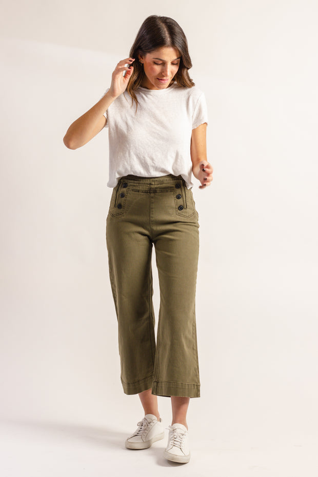 Olive Cropped Pant