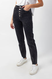 High-Waisted Washed Black Denim