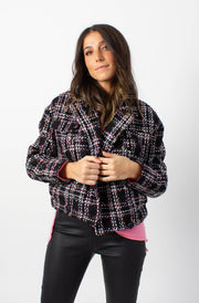 Pastel Tweed Bomber Jacket
