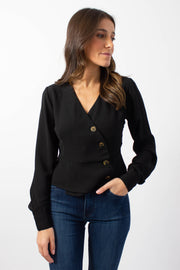Black Button-Front Blouse