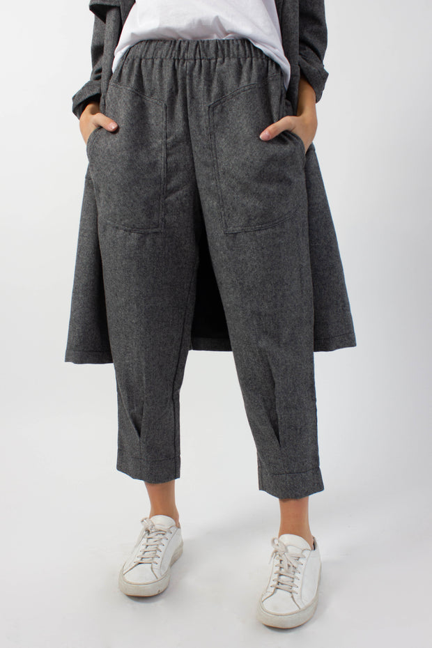 Elastic Waist Wool Pants