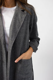 Grey Chevron Wool Coat