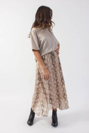 Pastel Snakeprint Pleated Skirt