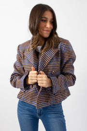 Houndstooth Double-Breasted Crop Jacket