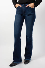 Dark Denim with Frayed Flare Hem