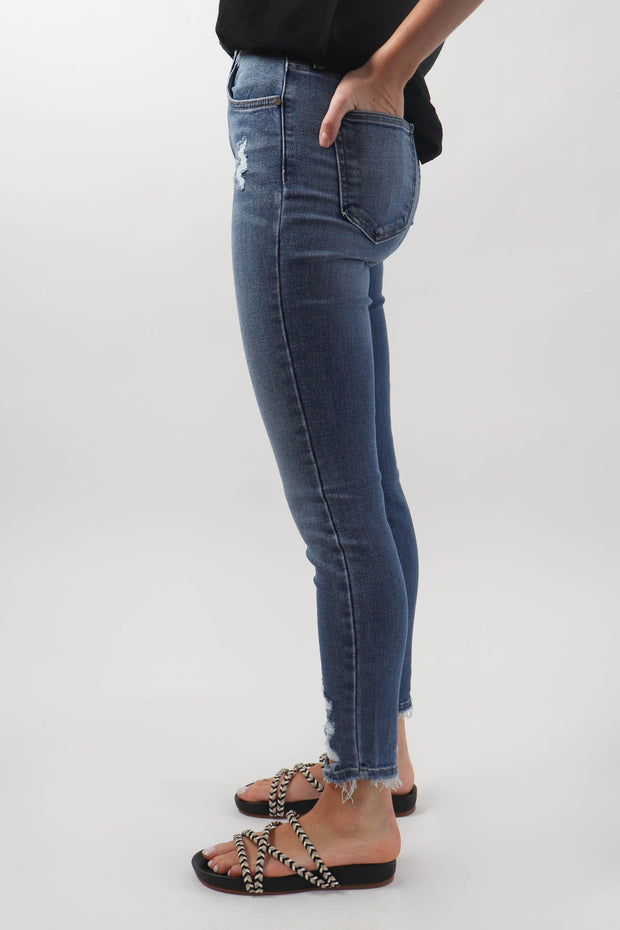 High Rise Destruction Skinny Denim