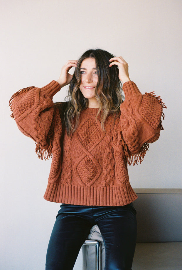 Rust Fringe Knit Sweater