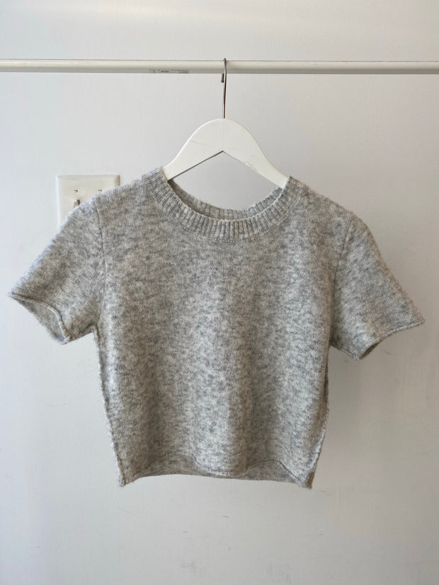 Grey Knit Cropped Tee