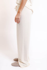 Soft Cream Ribbed Wide Leg Pant