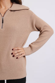 Light Beige Knit Half-Zip