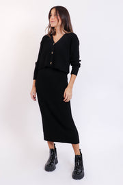 Ribbed Cardigan Skirt Set