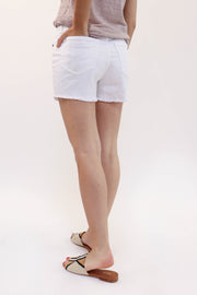 High-Rise White Denim Short