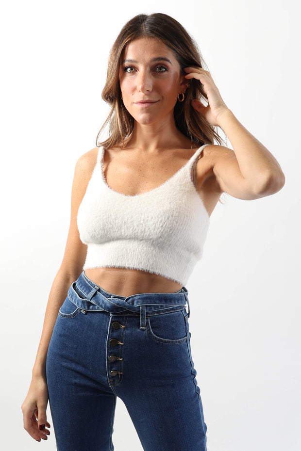 Fuzzy White Cropped Tank