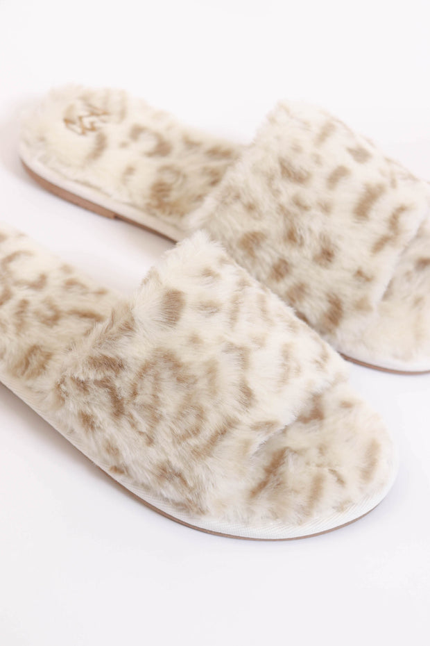 Faux Fur Snow Leopard Slippers