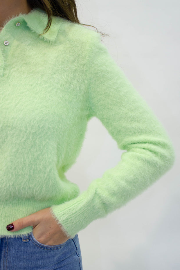 Fuzzy Lime Polo Sweater