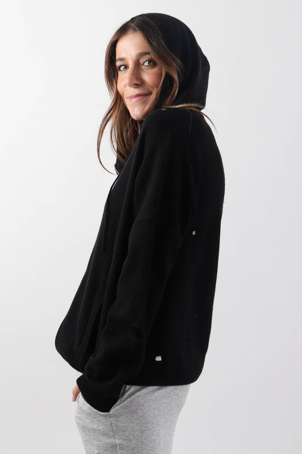 Black Distressed Cashmere Zip-Up Hoodie