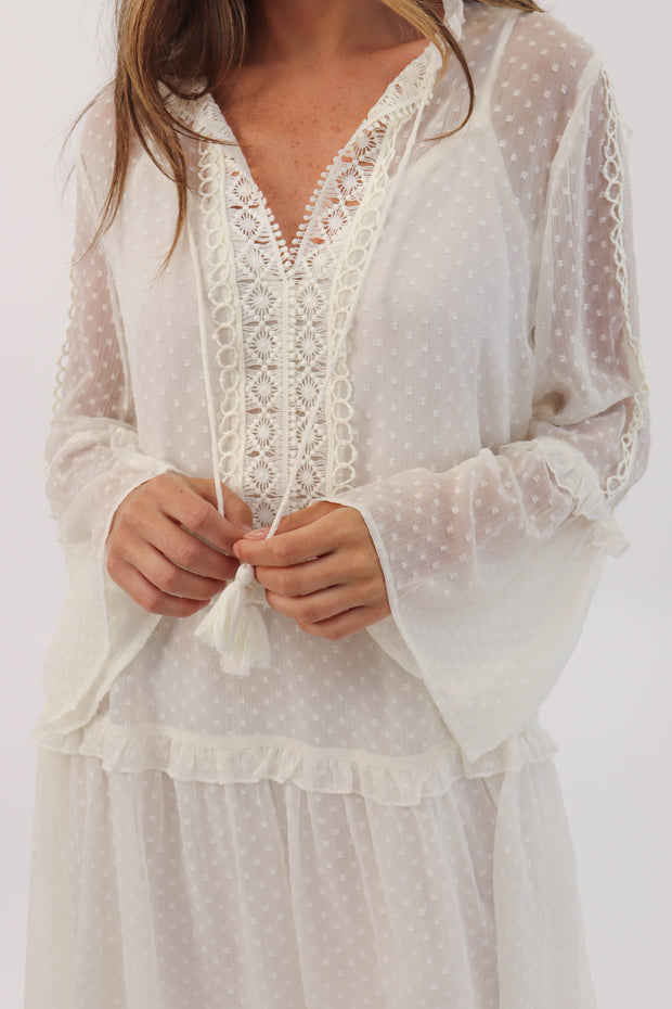 Flowy Crochet Detail Dress