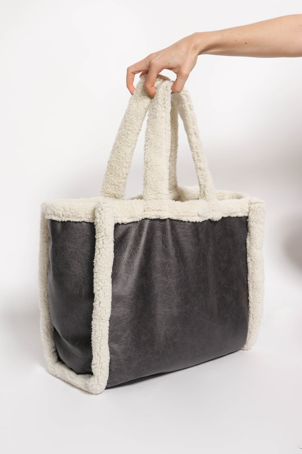 Teddy Tote in Charcoal Grey