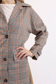 Plaid Contrast Trench Coat