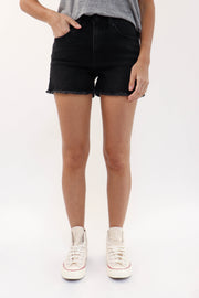 Washed Black Denim Short