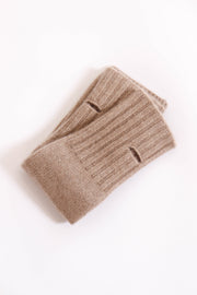 Oat Cashmere Fingerless Gloves