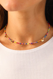 Rainbow Small Rounded Discs Choker