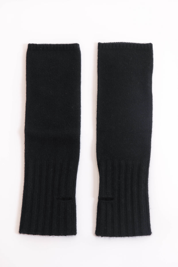 Black Cashmere Fingerless Gloves