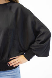 Satin Smocked Blouse